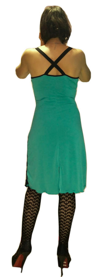 GREEN TANGO AND DANCE DRESS WITH LACE FRINGES AND FRINGES 4-0033 F