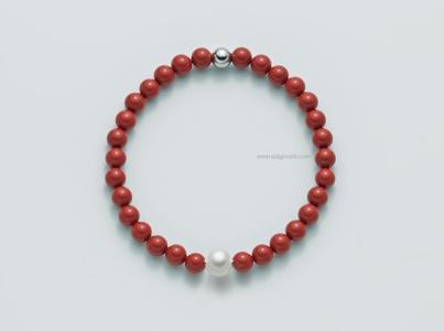 PBR2672v Bracciale color Corallo Rosso e Perla Miluna