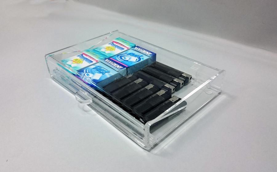 Rendiresto portaresto in plexiglass con vano interno per oggetti vari
