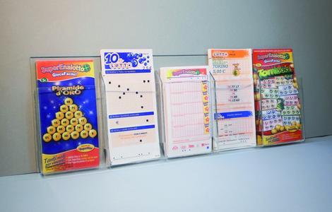Espositore tasche porta schede da parete Lotto, Super Enalotto, altro