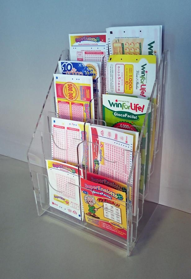Espositore porta schede tabaccheria schede lotto super enalotto da banco 10 e 15 tasche