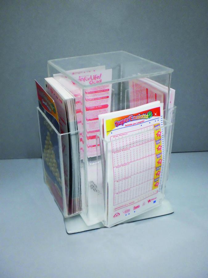 Espositore girevole in plexiglass porta schede da banco diversi modelli