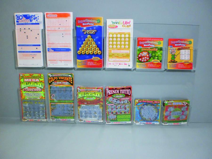 Espositore da parete 12 tasche porta schede, Gratta e Vinci, Lotto, depliant