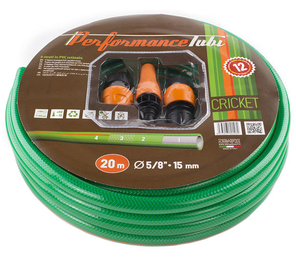 "Kit Cricket, Tubo da irrigazione 4 strati in PVC retinato con accessori 20MT (5/8""-15MM)"