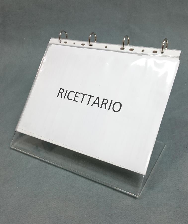 Raccoglitore ad anelli ricettario in plexiglass, buste forate fogli A4