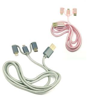 CAVO RICARICA DATI 3 IN 1 MICRO USB LIGHTNING TYPE C SMARTPHONE TABLET