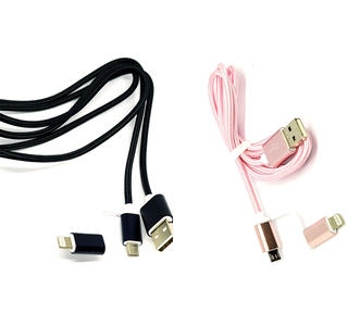 CAVO RICARICA TRASFERIMENTO DATI 2 IN 1 MICRO USB LIGHTNING SMARTPHONE