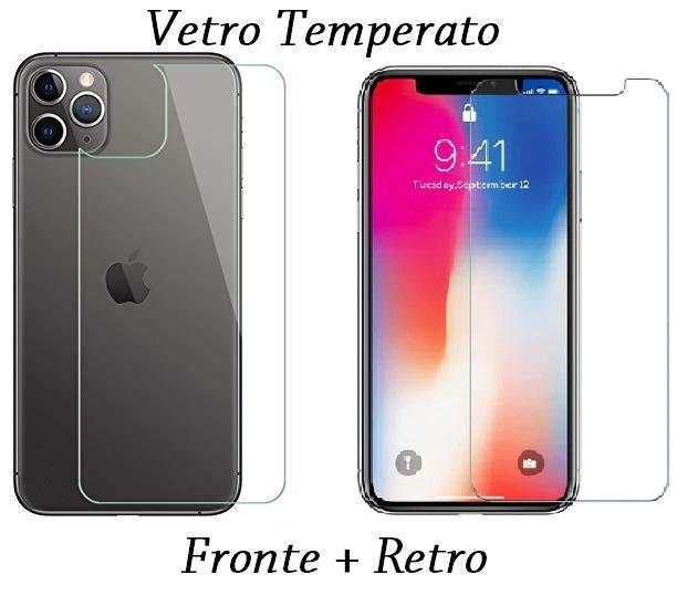 PELLICOLA VETRO FRONTE & RETRO PER IPHONE 11 / PRO / PRO MAX PROTEZIONE FRONTALE E POSTERIORE