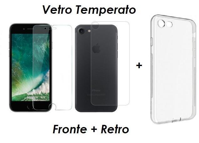 PELLICOLA VETRO FRONTE & RETRO PER IPHONE 8 / 8 PLUS PROTEZIONE FRONTALE E POSTERIORE + COVER TRASPARENTE IN SILICONE
