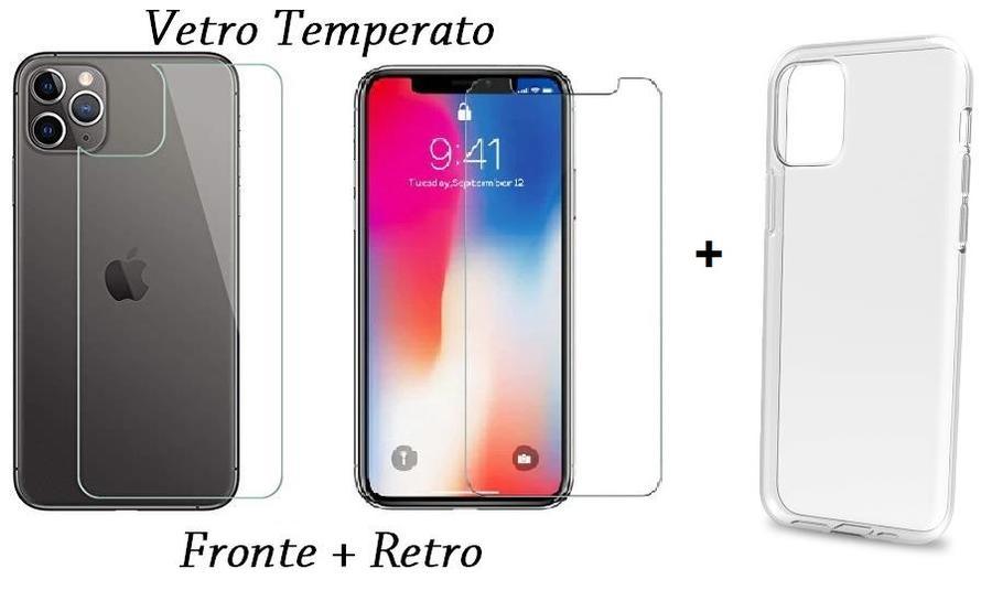 PELLICOLA VETRO FRONTE & RETRO PER IPHONE 11 / PRO / PRO MAX PROTEZIONE FRONTALE E POSTERIORE + COVER TRASPARENTE IN SILICONE