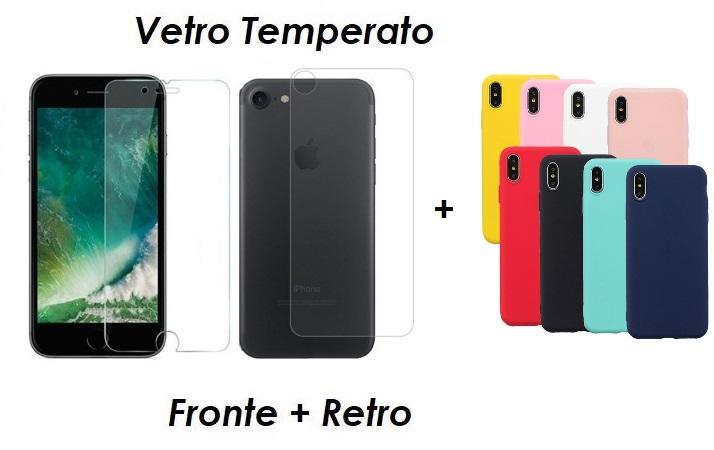 PELLICOLA VETRO FRONTE & RETRO PER IPHONE 7 PROTEZIONE FRONTALE E POSTERIORE + COVER COLORATA IN SILICONE