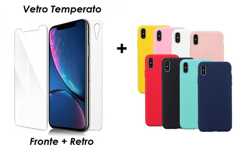 PELLICOLA VETRO FRONTE & RETRO PER IPHONE XR PROTEZIONE FRONTALE E POSTERIORE + COVER COLORATA IN SILICONE