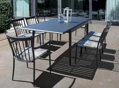 Tavolo da giardino in alluminio allungabile POMPEI MINI misura 160 / 240 x 90 h 76 col ANTRACITE
