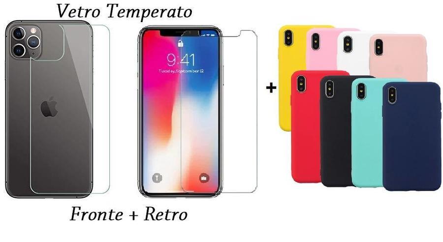 PELLICOLA VETRO FRONTE & RETRO PER IPHONE 11 PRO MAX 6.5'' PROTEZIONE FRONTALE E POSTERIORE + COVER COLORATA IN SILICONE