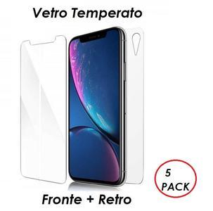 5 PACK PELLICOLA VETRO FRONTE & RETRO PER IPHONE XR PROTEZIONE FRONTALE E POSTERIORE