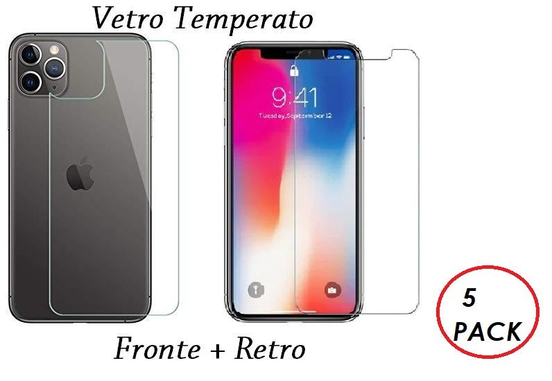 5 PACK PELLICOLA VETRO FRONTE & RETRO PER IPHONE 11 / PRO / PRO MAX PROTEZIONE FRONTALE E POSTERIORE