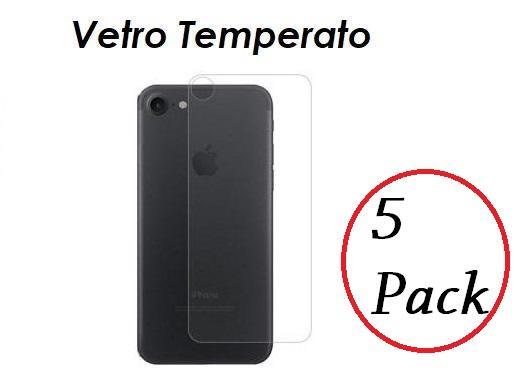 5 PACK PELLICOLA VETRO RETRO PER IPHONE 7 / 7 PLUS PROTEZIONE POSTERIORE