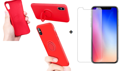 CUSTODIA COVER PER APPLE IPHONE X/XS COVER SLIM CON ANELLO STAND + PELLICOLA IN VETRO TEMPERATO