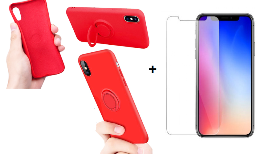 CUSTODIA COVER PER APPLE IPHONE 11 PRO 5.8'' COVER SLIM CON ANELLO STAND + PELLICOLA IN VETRO TEMPERATO