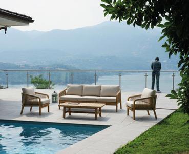 Salotto da giardino SET LIPSIA in acacia color teck con cuscini SET 137