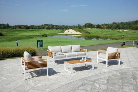 Salotto da giardino SET COLONIA in teak bianco divano 3 posti con cuscini SET 138