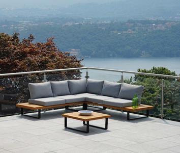 Salotto angolare da giardino  in alluminio e teak da 6 posti cm 250 x 250 cod SET 139