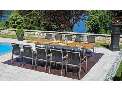 Tavolo da giardino in resin wood TRIPLO ANDERMATT color rovere 190/240/290 x 100 h 74 COD RTE 60
