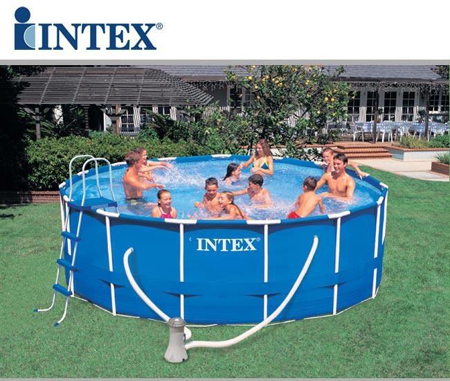 Piscina intex 54946 metal frame rotonda cm 457x122 con for Intex piscine accessori