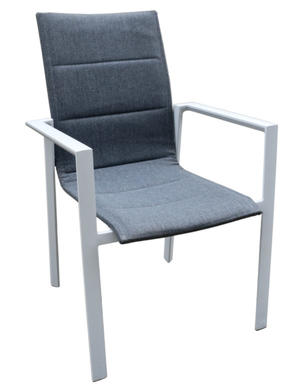 Sedia da giardino BUSSANA alluminio bianco poliestere imbottito grigio cenere CHA 48