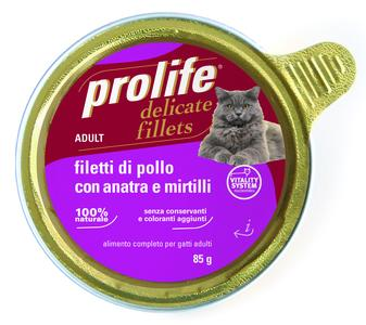 Gatto - Fillets Pollo, Anatra & Mirtilli Prolife 85 gr