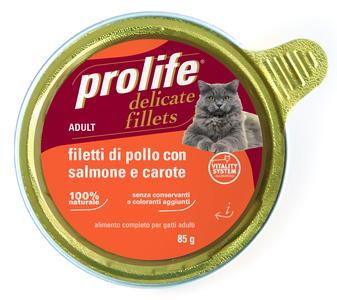 Gatto - Fillets Pollo, Salmone & Carote Prolife 85 gr