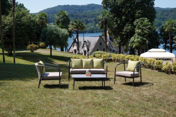 Salottino da giardino SET LUBECCA in alluminio antracite e corda con divano 3 posti SET 129