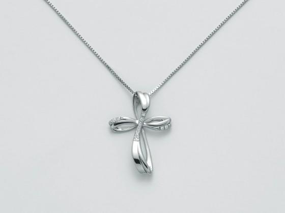 CLD4229 Girocollo con Croce e Diamanti Miluna -