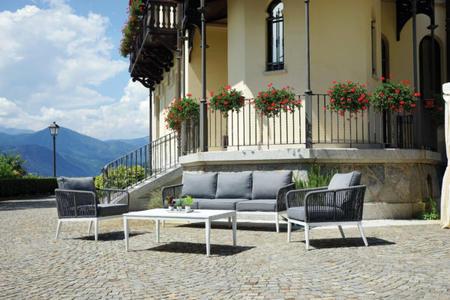Salottino da giardino SET GOTEBORG in alluminio bianco divano 3 posti e corda SET 134