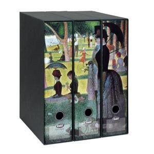 Set tre registratori Image - Formato Protocollo - Dorso 8 cm - Georges Seurat - Una domenica pomeriggio all'isola della Grande-Jatte (parte 2)