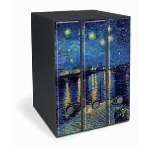 Set tre registratori Image - Formato Protocollo - Dorso 8 cm - Vincent van Gogh - Notte stellata sul Rodano