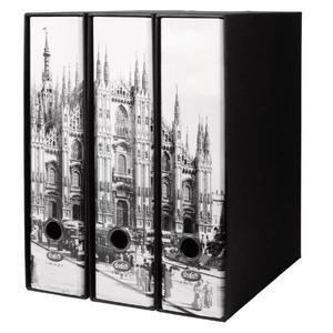 """Set tre registratori Image """"Città d'Arte"""" - Formato Protocollo - Dorso 8 cm - Milano"""