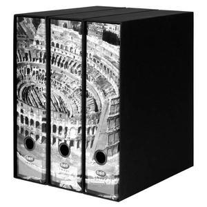 Set tre registratori Image - Formato Protocollo - Dorso 8 cm - Roma - Colosseo