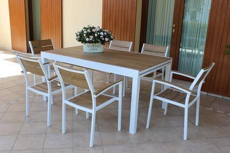 Tavolo da giardino CAYMANO MINI allungabile in alluminio bianco POLYWOOD TEAK 160 / 240 x 95