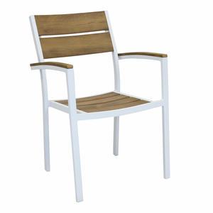 Sedia da giardino in alluminio bianco CAYMANO polywood legno