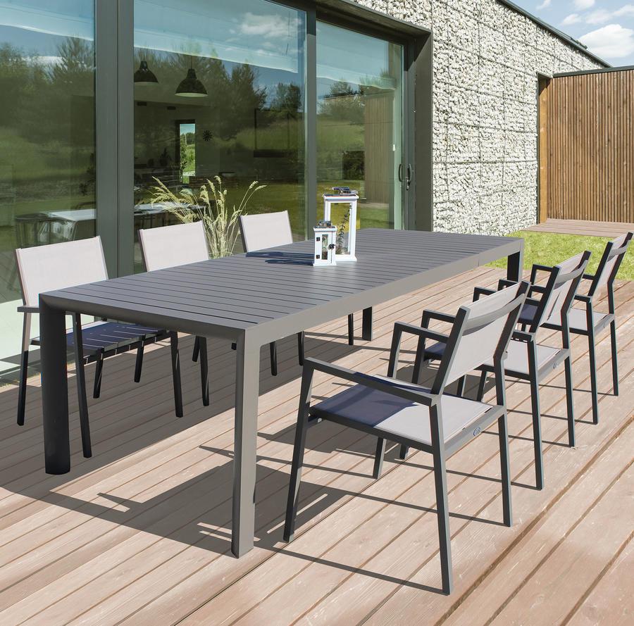 Tavolo da giardino in alluminio allungabile BELLUNO misura 160 / 240 x 100 h 75 colore TAUPE