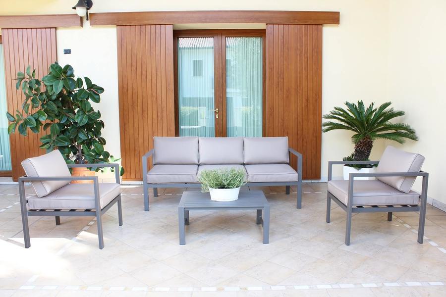 Salotto da giardino in alluminio AVANANAS divano 3 posti CM 184 2 POLTRONE colore TAUPE
