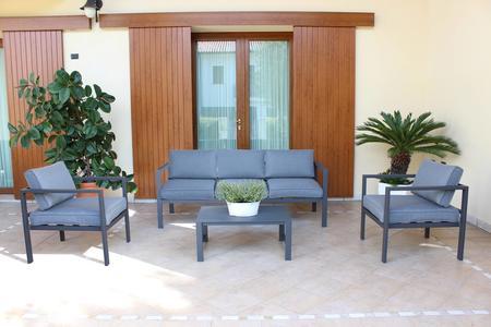 Salotto da giardino in alluminio AVANANAS divano 3 posti CM 184 2 POLTRONE colore ANTRACITE