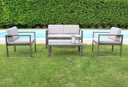 Salottino da giardino in alluminio FORMENT con divano 2 posti colore TAUPE