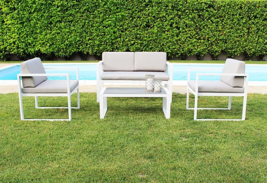 Salottino da giardino in alluminio FORMENT con divano 2 posti colore BIANCO