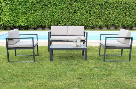 Salottino da giardino in alluminio FORMENT con divano 2 posti colore ANTRACITE