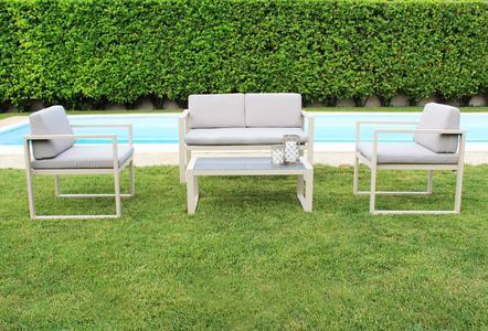Salottino da giardino in alluminio FORMENT con divano 2 posti colore TORTORA