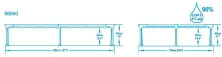 Piscina rettangolare Bestway 56040 Splash Frame cm 220x150x43h