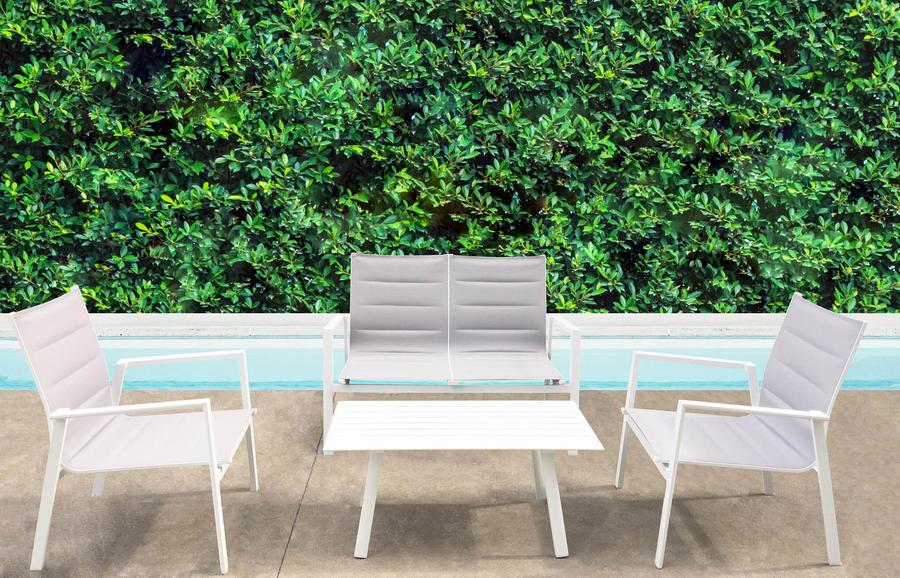 Salottino da giardino in alluminio SALOTTO ILARIA textilene imbottito in alluminio verniciato col BIANCO