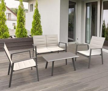 Salottino da giardino in alluminio SALOTTO ILARIA textilene imbottito in alluminio verniciato col TAUPE